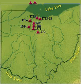 Wyandot Tribe towns map in Ohio