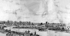 Indians and Commissioners camped at Medicine Lodge, Kansas