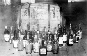 Confiscated whiskey in Prohibition