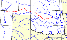 The Cimarron River crosses New Mexico, Oklahoma, Colorado, and Kansas