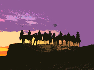 Cowboy Silouette outside of Dodge City, Kansas