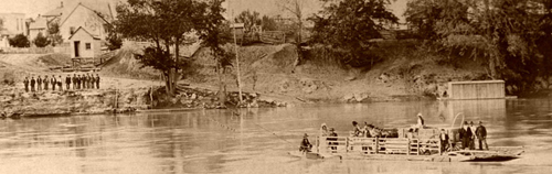 Ferry crossing the Kansas River, between 1854 and 186