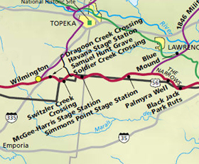 Santa Fe Trail Map Douglas, Osage and Lyon Counties