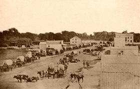 Covered wagons in Manhattan, Kansas
