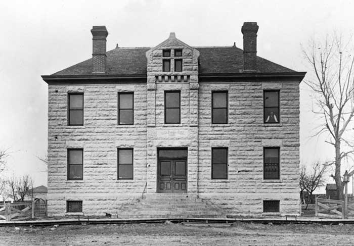 Old Wabaunsee County Courthouse in Alma, Kansas, 1870s. The building no longer stands today as a no courthouse was built.