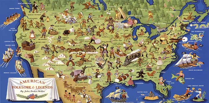American Folklore Map by John Dukes McKee, 1950