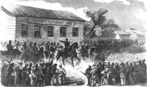 Colonel Sumner arriving at Constitution Hall in Topeka, 1856