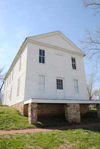 The Constitutional Hall in Lecompton, Kansas still stands today by Kathy Weiser-Alexander.