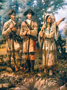Lewis & Clark with Sacagawea leading by E.S. Paxton, 1912.