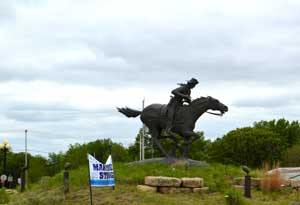Pony Express Statue in Marysville, Kansas by Kathy Weiser-Alexander.