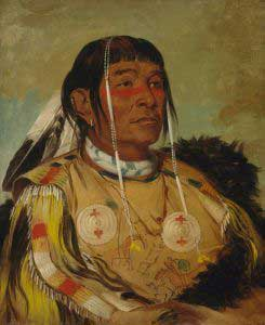 Chippewa Chief Sha-co-pay by George Catlin, 1832.