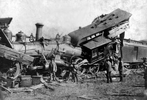 Wreck of the Chicago, Rock Island, and Pacific Railway at Paxico, Kansas in 1895.
