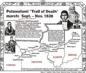 Potawatomi Trail of Death Map