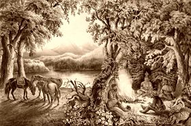 Trappers Campfire by Currier and Ives, 1866.
