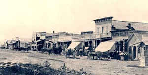 Dodge City, Kansas in about 1875.