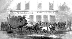 Butterfield Overland mail coach at Atchison, Kansas by Harpers Weekly, 1866.