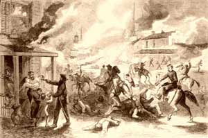 Lawrence Massacre, September 5, 1863 by Harpers Weekly.