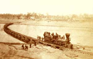 Leavenworth, Lawrence & Galveston Railroad Bridge across the Kansas River, Lawrence, Kansas, by Alexander Gardner, 1867.
