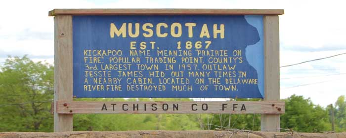 Welcome to Muscotah, Kansas.