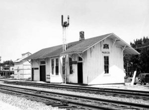 Chicago, Rock Island, & Pacific Depot in Paxico, Kansas, 1957.