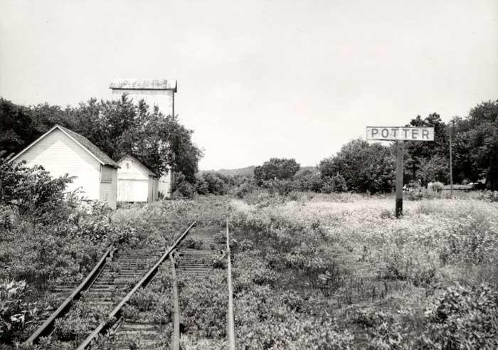 Atchison, Topeka & Santa Fe Railroad tracks at Potter, Kansas.