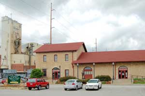 The historic railroad depot in Atchison, Kansas now serves as a museum and information center by Kathy Weiser-Alexander.