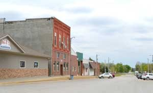 Business buildings in Axtell, Kansas by Kathy Weiser-Alexander.
