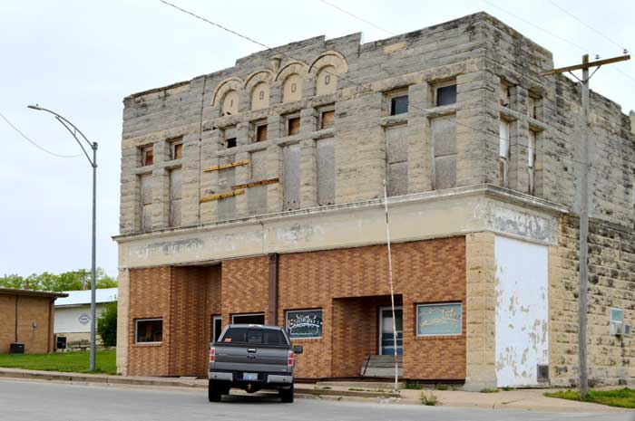 A large 1900 building in Beattie, Kansas today by Kathy Weiser-Alexander.
