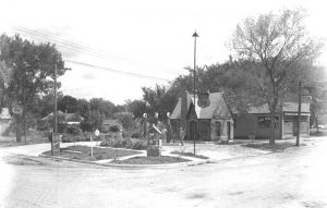 A gas station in Blue Rapids, Kansas in about 1930.