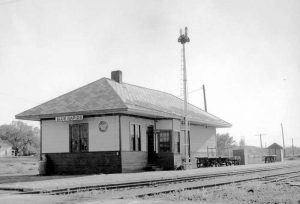 Missouri Pacific Railroad Depot at Blue Rapids, Kansas.