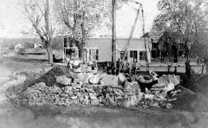 Construction of city hall in Dunlap, Kansas, 1916.