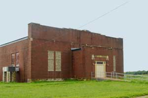 The 1918 Dunlap, Kansas school gymnasium still stands by Kathy Weiser-Alexander.