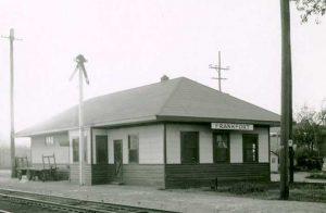 Missouri Pacific Railroad Depot at Frankfort, Missouri.