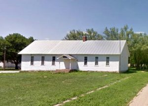 The old school still stands in Herkimer, Kansas today, courtesy Gooigle Maps.
