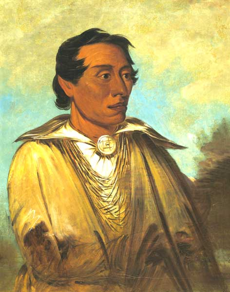 Kickapoo Chief and prophet Kenekuk by George Catlin.