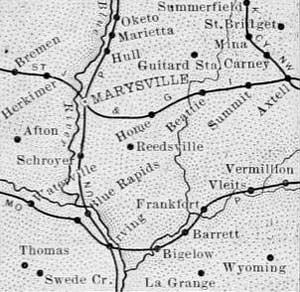 Vintage Marshall County, Kansas Map