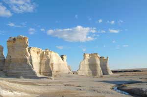 Monument Rocks in Gove County, Kansas by Kathy Weiser-Alexander.