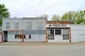 Main Street buildings in Summerfield, Kansas by Kathy Weiser-Alexander.