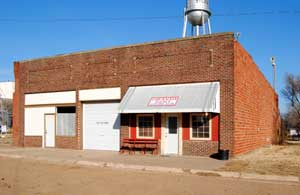 Business buildings in Sylvia, Kansas by Kathy Weiser-Alexander.