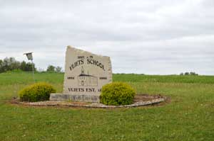 A stone marker designates where the Vliets school once stood by Kathy Weiser-Alexander.