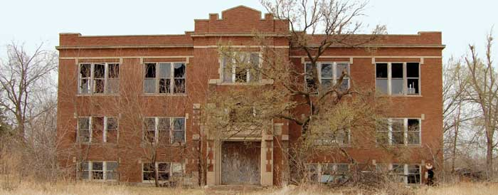 A long-closed high school in Bavaria, Kansas by Kathy Weiser-Alexander.