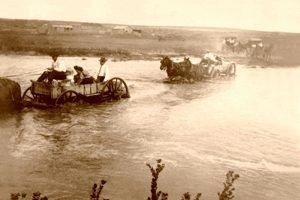 Fording the Cimarron River in Grant County, Kansas.