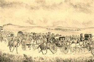 General James Lane escorting the legislature to Lecompton in 1857.