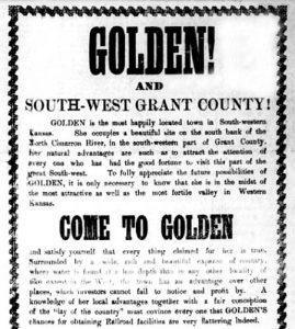 Golden, Kansas advertisement om the Golden Gazette