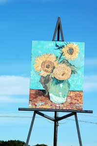 Giant Van Gogh sunflower painting in Goodland, Kansas by Reletta Clumsky.