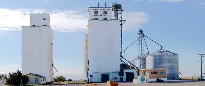 Grain elevators in Hickok, Kansas by Kathy Weiser-Alexander.