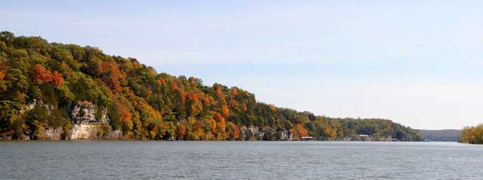 This portion of the Osage River has long since been damned to create the Lake of the Ozarks by Kathy Weiser-Alexander.