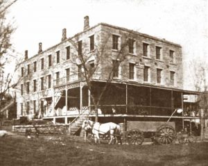 Rowena Hotel in Lecompton, Kansas in about 1865.