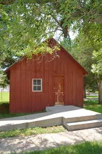 McPherson County's first courthouse can be seen at the Old Mill Museum in Lindsborg, Kansas by Kathy Weiser-Alexander.