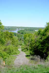 A view from the Quindaro overlook of the old townsite showing Kanzas Avenue and the Missouri River by Kathy Weiser-Alexander.
